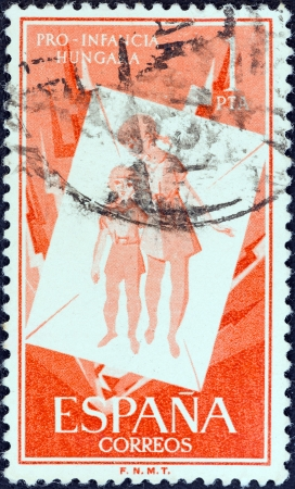 SPAIN - CIRCA 1956  A stamp printed in Spain from the  Hungarian Children s Relief  shows Refugee Children, circa 1956