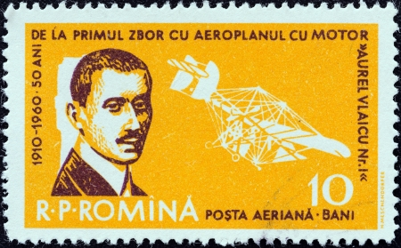 timbre: ROMANIA - CIRCA 1960  A stamp printed in Romania issued for the 50th anniversary of 1st Flight by Aurel Vlaicu and Aviation Day shows Aurel Vlaicu and his Airplane No  1 Crazy Fly, circa 1960