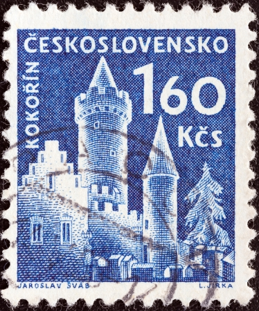 czechoslovak: CZECHOSLOVAKIA - CIRCA 1960  A stamp printed in Czechoslovakia from the  Czechoslovak Castles  issue shows Kokorin castle, circa 1960   Editorial