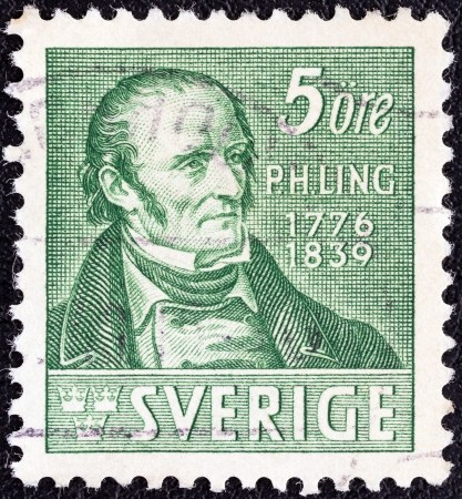 ling: SWEDEN - CIRCA 1939  A stamp printed in Sweden issued for the death centenary of Pehr Henrik Ling  creator of Swedish Drill  shows Pehr Henrik Ling  after J G  Sandberg , circa 1939   Editorial