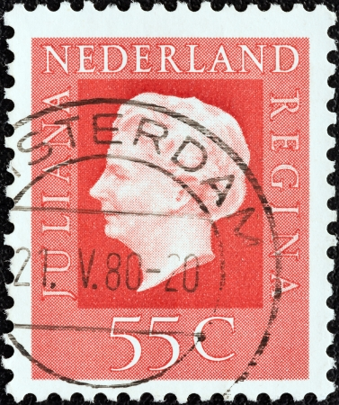 stempeln: NETHERLANDS - CIRCA 1969  A stamp printed in the Netherlands shows Queen Juliana, circa 1969   Editorial