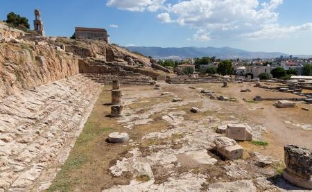 Telesterion、古代エレウシス アッティカ、ギリシャの眺め