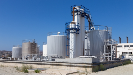 Fuel storage tanks in industry Stock Photo