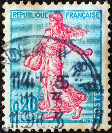 fraternity: FRANCE - CIRCA 1960  A stamp printed in France shows Sower, circa 1960