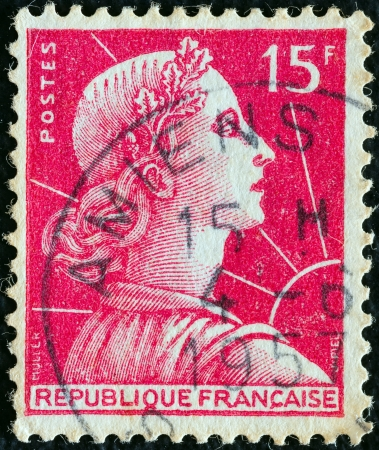 marianne: FRANCE - CIRCA 1955  A stamp printed in France shows Marianne  Louis-Charles Muller design , circa 1955
