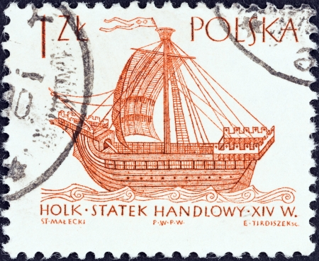 POLAND - CIRCA 1964  A stamp printed in Poland from the  Sailing Ships  2nd series   issue shows Hulk  16th century , circa 1964
