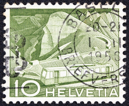 confederation: SWITZERLAND - CIRCA 1949  A stamp printed in Switzerland shows train track to Rochers de Naye, circa 1949