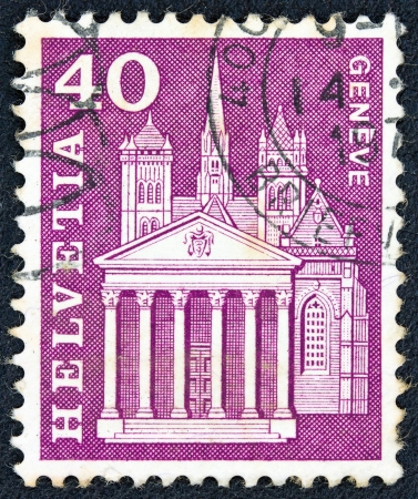 SWITZERLAND - CIRCA 1960  A stamp printed in Switzerland from the  Architectural Monuments  1st series   issue shows the cathedral of Saint Pierre, Geneva, circa 1960