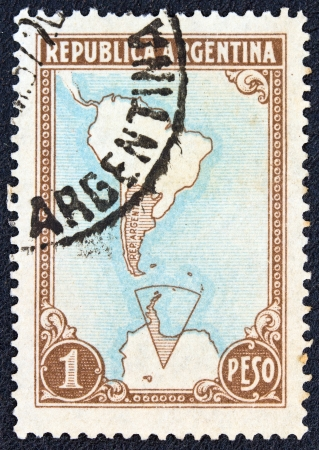 ARGENTINA - CIRCA 1951  A stamp printed in Argentina shows map of Argentina and Antarctic territories, circa 1951