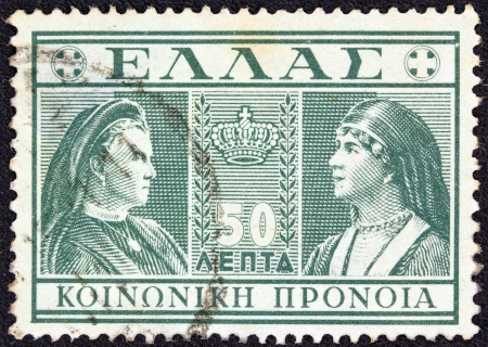 stempeln: GREECE - CIRCA 1939  A stamp printed in Greece from the   social welfare  issues, circa 1939