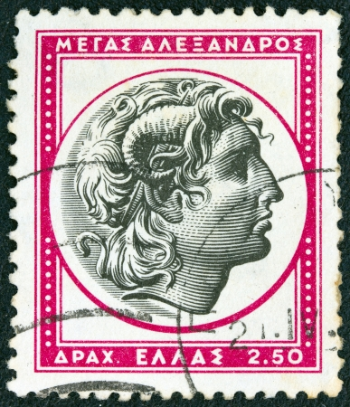 alexandros: GREECE - CIRCA 1955  A stamp printed in Greece from the   Ancient Greek Art 3rd part  issue shows Alexander the Great, circa 1955