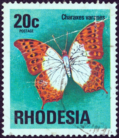estampilla: RHODESIA - CIRCA 1974  A stamp printed in Rhodesia from the  Butterflies  issue shows a Charaxes varanes butterfly, circa 1974   Editorial
