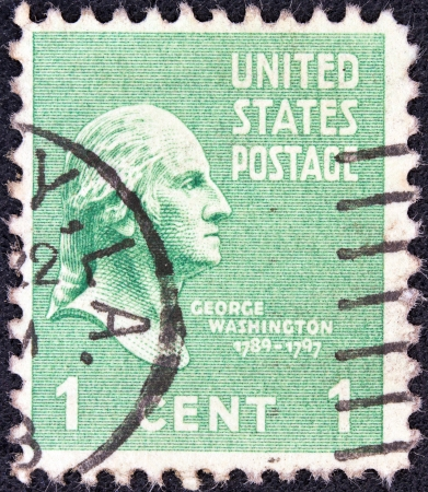 USA - CIRCA 1938  A stamp printed in USA from the  Presidents  issue shows a portrait of president George Washington, circa 1938