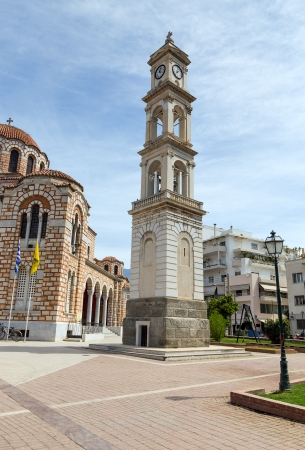 thessalia: The clock tower of St  Nicholas cathedral, Volos, Greece  Stock Photo