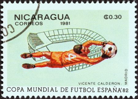 NICARAGUA - CIRCA 1981  A stamp printed in Nicaragua from the  World Cup Football Championship, Spain  Venues  issue shows Vicente Calderon, Madrid, circa 1981