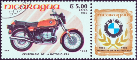 centenary: NICARAGUA - CIRCA 1985  A stamp printed in Nicaragua from the  Centenary of Motorcycle  issue shows a BMW R65, 1984, circa 1985   Editorial