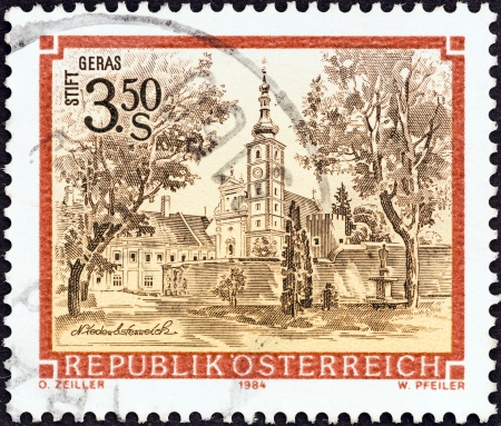 abbeys: AUSTRIA - CIRCA 1984  A stamp printed in Austria from the  Monasteries and Abbeys  issue shows Geras Monastery, circa 1984