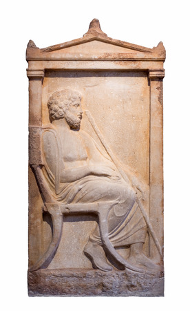 Greek marble grave stele from Piraeus shows a bearded man sits on a chair holding a staff  Stock Photo