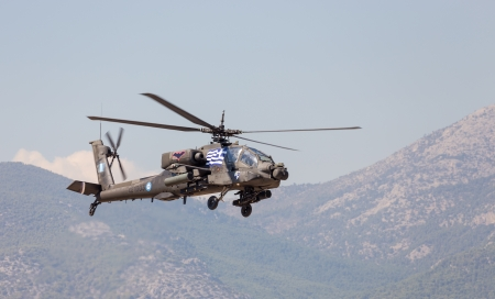 Hellenic Army AH-64A Apache attack helicopter in flight during the Athens Flying Week
