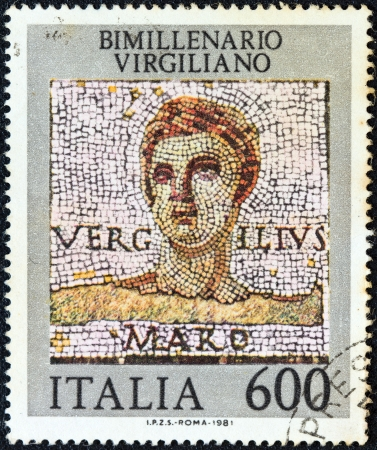 virgil: ITALY - CIRCA 1981  A stamp printed in Italy shows Roman poet Publius Vergilius Maro  Virgil , circa 1981   Editorial