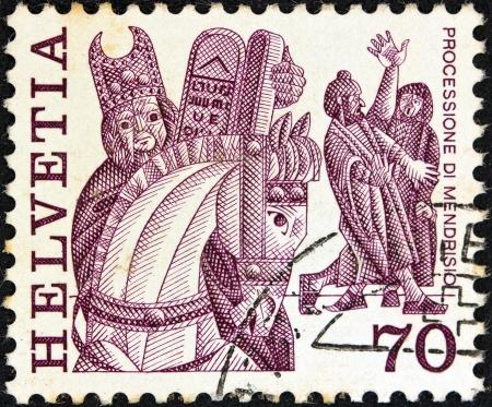 helvetia: SWITZERLAND - CIRCA 1977  A stamp printed in Switzerland shows historic processions, Mendrisio, circa 1977