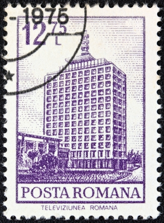i t: ROMANIA - CIRCA 1972  A stamp printed in Romania from the  Definitives I - Buildings  shows T V  Building, Bucharest, circa 1972