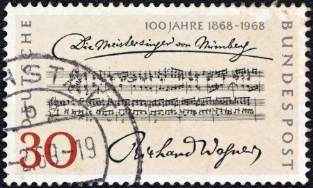 wagner: GERMANY - CIRCA 1968  A stamp printed in Germany issued for the Centenary of 1st Performance of Richard Wagner s Opera  The Mastersingers , circa 1968