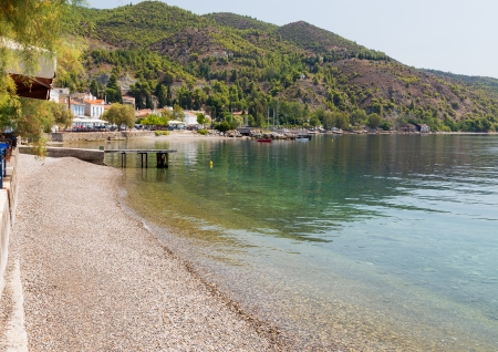 Pebble beach in Limni village, Euboea, Greece