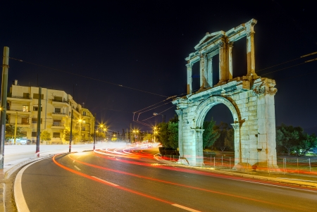 Arch of Hadrian at night, Athens, Greece photo