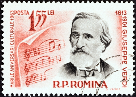 ROMANIA - CIRCA 1963  A stamp printed in Romania from the  Cultural Anniversaries  issue shows Giuseppe Verdi  composer, 150th birth anniversary , circa 1963