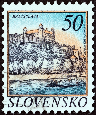 SLOVAKIA - CIRCA 1993  A stamp printed in Slovakia shows Bratislava, circa 1993