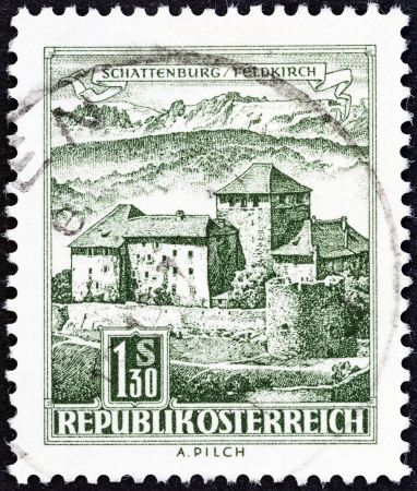 stempeln: AUSTRIA - CIRCA 1957  A stamp printed in Austria from the  Buildings   issue shows Schattenburg Castle, circa 1957