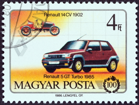 renault 5: HUNGARY - CIRCA 1986  A stamp printed in Hungary from the  Centenary of Motor Car   issue shows Renault 14 CV, 1902, and Renault 5 GT Turbo, 1985, circa 1986   Editorial
