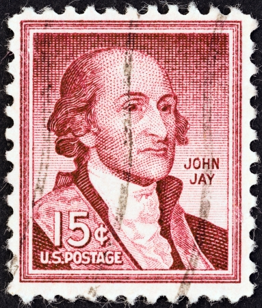 statesman: USA - CIRCA 1954  A stamp printed in USA from the  Liberty  issue shows John Jay, circa 1954