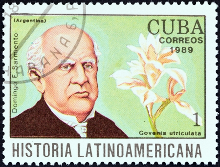 CUBA - CIRCA 1989  A stamp printed in Cuba from the  Latin American History  4th series   issue shows Domingo F  Sarmiento and Govenia utriculata  Argentina , circa 1989   Editorial