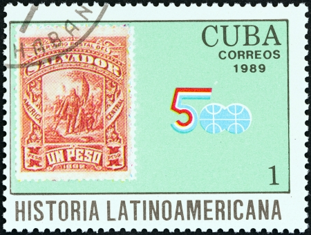 CUBA - CIRCA 1989  A stamp printed in Cuba from the  Latin American History  4th series   issue shows El Salvador 1892 1p  Columbus stamp, circa 1989