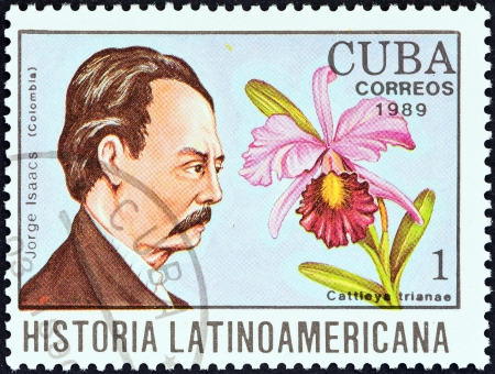 CUBA - CIRCA 1989  A stamp printed in Cuba from the  Latin American History  4th series   issue shows Jorge Isaacs and Cattleya trianae  Colombia , circa 1989
