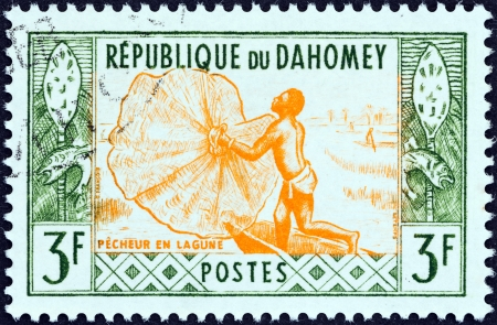 DAHOMEY - CIRCA 1961  A stamp printed in Dahomey from the  Artisans  issue shows Fisherman casting net, circa 1961