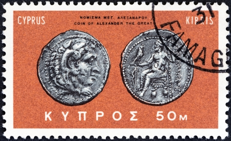 kypros: CYPRUS - CIRCA 1966  A stamp printed in Cyprus shows silver coin of Alexander the Great, circa 1966   Editorial