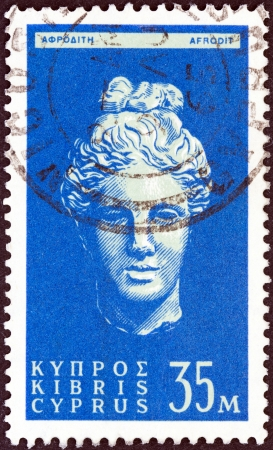 kypros: CYPRUS - CIRCA 1962  A stamp printed in Cyprus shows head of goddess Aphrodite, circa 1962   Editorial