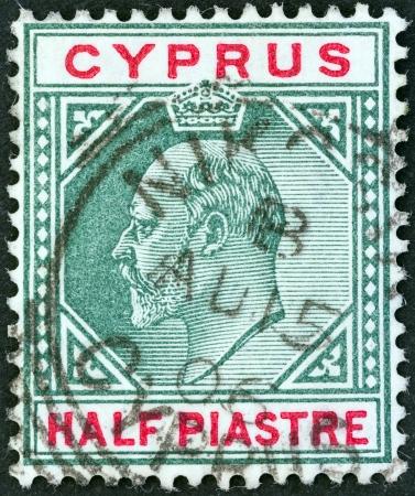 kibris: CYPRUS - CIRCA 1903  A stamp printed in Cyprus shows King Edward VII, circa 1903