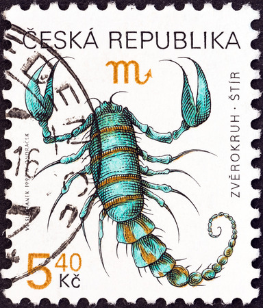 CZECH REPUBLIC - CIRCA 1998  A stamp printed in Czech Republic from the  Signs of the Zodiac  issue shows Scorpio, circa 1998