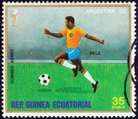 EQUATORIAL GUINEA - CIRCA 1977  A stamp printed in Equatorial Guinea from the   Football World Cup, Argentina 1978  issue shows Pele, circa 1977