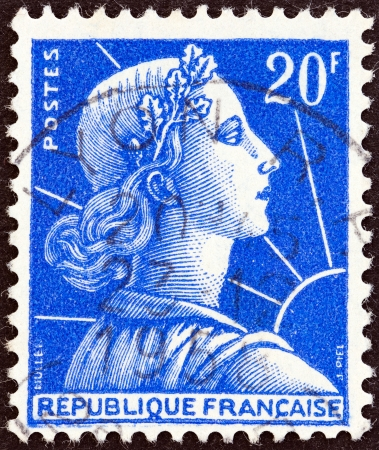 phrygian: FRANCE - CIRCA 1955  A stamp printed in France shows Marianne  Louis-Charles Muller design , circa 1955