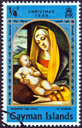 CAYMAN ISLANDS - CIRCA 1969  A stamp printed in Cayman Islands from the  Christmas   issue shows Madonna and Child by Vivarini, circa 1969