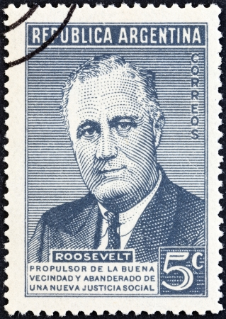 roosevelt: ARGENTINA - CIRCA 1946  A stamp printed in Argentina issued for the death anniversary of President Roosevelt shows USA President Franklin Roosevelt, circa 1946