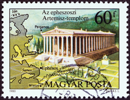 magyar: HUNGARY - CIRCA 1980  A stamp printed in Hungary from the  Seven Wonders of the Ancient World   issue shows the Temple of Artemis, Ephesus, circa 1980