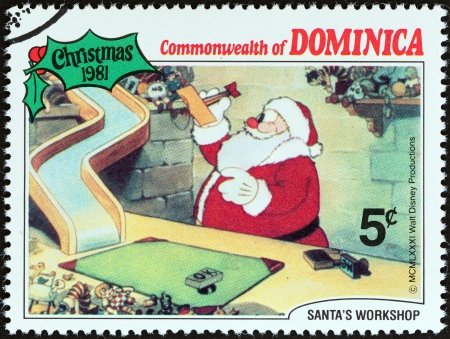 DOMINICA - CIRCA 1981  A stamp printed in Dominica from the  Christmas  Scenes from Walt Disney s cartoon film Santa s Workshop   issue shows film scene, circa 1981   Editorial