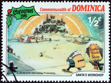 DOMINICA - CIRCA 1981  A stamp printed in Dominica from the  Christmas  Scenes from Walt Disney s cartoon film Santa s Workshop   issue shows film scene, circa 1981