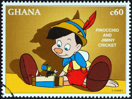 GHANA - CIRCA 1996  A stamp printed in Ghana from the  1996 National Stamp Exhibition, Orlando, USA - Disney Friends - Disney Cartoon Characters   issue shows Pinocchio and Jiminy cricket, circa 1996